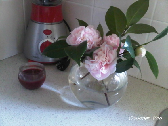 light pink cut camelia flowers vase