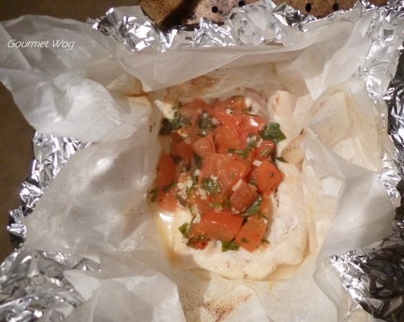 Fish en Papillote with Lemon Garlic Tomato and Parsley sauce