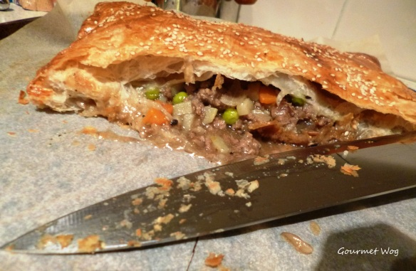 beef and vegetable puff pastry pie