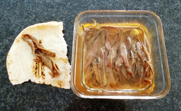 anchovies in lebanese bread
